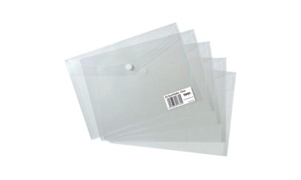 5 x HIGH GRADE A5 STUD PRESS WALLETS Plastic Document Popper File Folders 300380